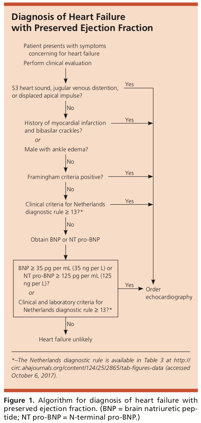 diagnosis of heart failure with a preserved ejection fraction
