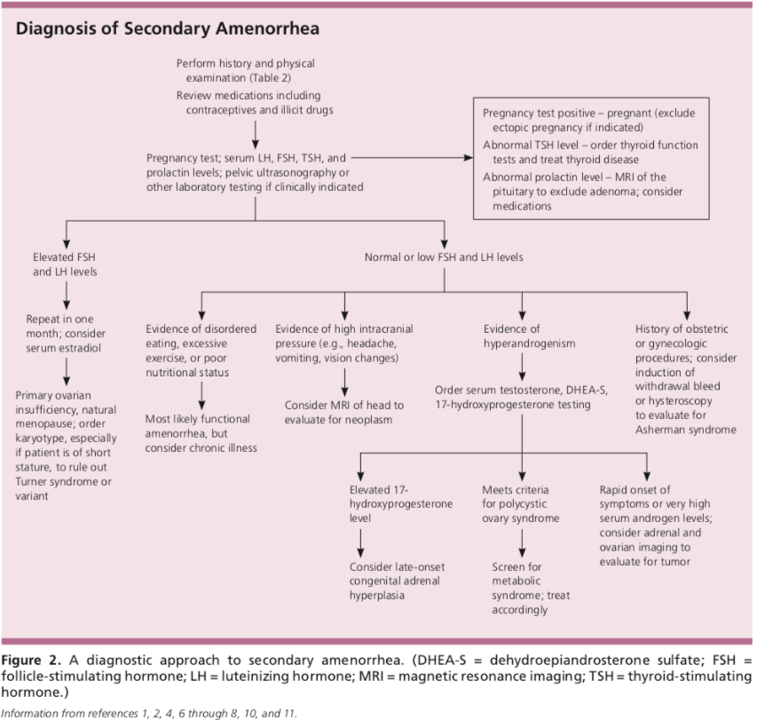 Diagnosis of secondary amenorrhea